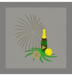 flat shading style icon Christmas ball champagne vector image
