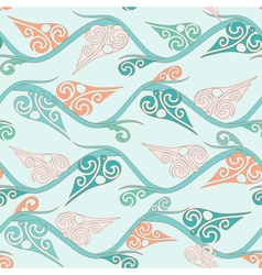 Floral pattern with curly leaves vector image