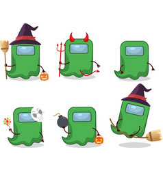 Ghost among us green halloween vector