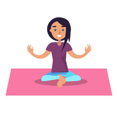 Girl doing yoga sits in lotus position on pink rug vector