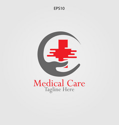 hand and cross logo for medical and pharmaceutical vector image