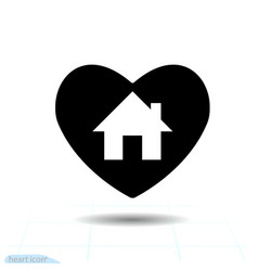 home in black heart icon for valentines day vector image