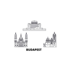 Hungary budapest city line travel skyline set vector