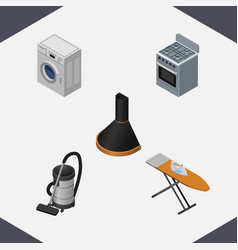 Isometric electronics set of air extractor vector