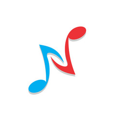 letter n note logo icon vector image