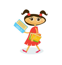 little girl reading on walk hold stack of books vector image