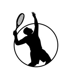 Male tennis player with racquet serving vector