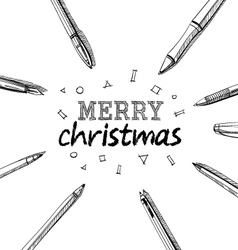 Merry Christmas frame pens vector