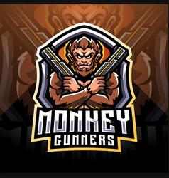 monkey gunner esport mascot logo design vector image