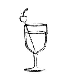 monochrome sketch silhouette of glass cup cocktail vector image vector image