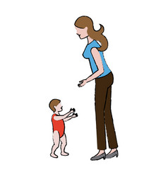 Mother with her baby walk together vector