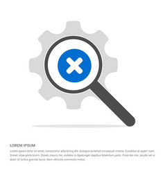 Multiply icon search glass with gear symbol icon vector