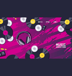 Music website design vinyl record discs and vector