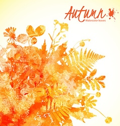 Orange watercolor leaves vector