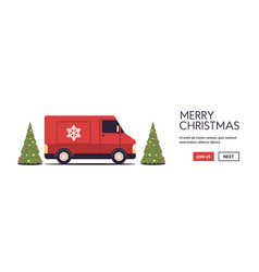 red lorry truck delivering gifts merry christmas vector image