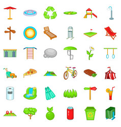 Rest park icons set cartoon style vector