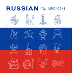 Russian line icons russian traditional symbols vector