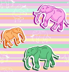 Seamless elephant pattern on pink stripped vector image