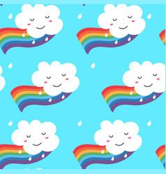 seamless pattern funny kawaii cloud on rainbow vector image