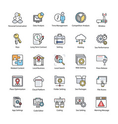 search engine and optimization productive icons vector image