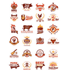 Set grill and barbecue badges stickers emblems vector