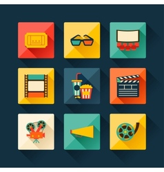 Set of movie design elements in flat style vector image