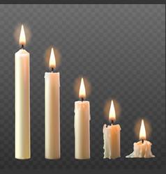 set realistic white burning candles vector image