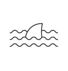 Shark fin icon set ocean life line design vector