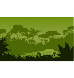Silhouette of forest with river scenery vector