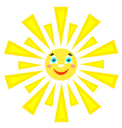 Smiling sun with rays of different shapes icon on vector
