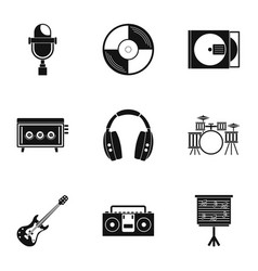 Sound producing icon set simple style vector
