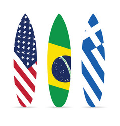 Surfboard with flag on it set leisure vector
