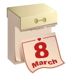 Tear-off calendar 8 of March International Womens vector