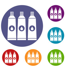 three tubes with paint icons set vector image