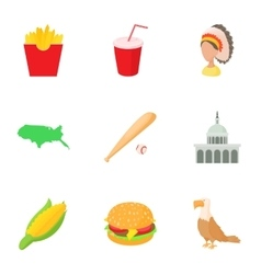 Tourism in USA icons set cartoon style vector