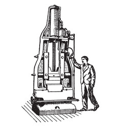 Vertical steam hammer vintage vector