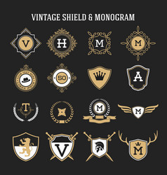 Vintage monogram and shield elements vector