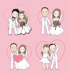 wedding cartoon bride and groom with happy face vector image
