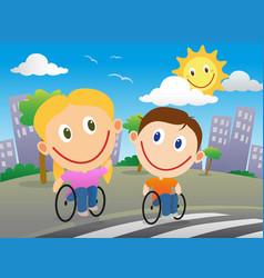 Wheelchair children crossing the road vector