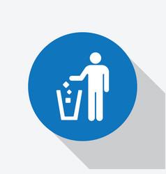 White man throwing garbage to trash bin icon vector