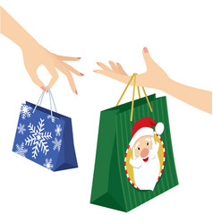woman hand holding christmas shopping bag vector image