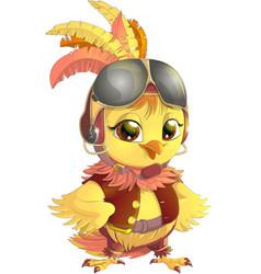 yellow bird pilot vector image
