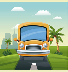 Yellow bus travel vacation road landscape city vector