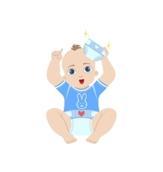 Baby in blue holding fresh nappy vector