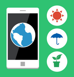 ecology with mobile phone vector image vector image