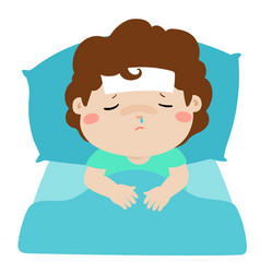 little sick boy in bed cartoon vector image vector image