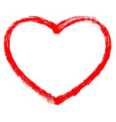 red heart contour sketch brushstroke vector image vector image