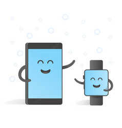 smartphone concept connections with smart watches vector image