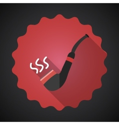 Smoking Pipe Tube Flat Icon with long shadow vector image vector image