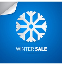 Winter sale title and snowflake on blue background vector